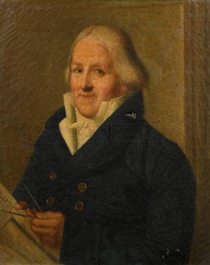 Ecole FRANCAISE 1815  Portrait d'un architecte...