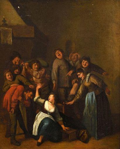 Ecole FLAMANDE du XVIIe siècle, suiveur de Jan Miense MOLENAER  Le jeu de la main...
