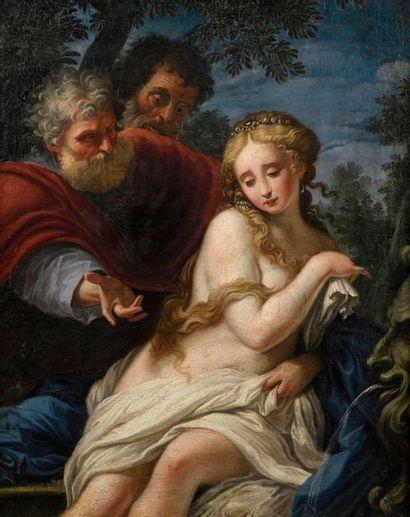 Ecole ROMAINE du XVIIIème siècle, entourage de BATONI  Suzanne et les vieillards...
