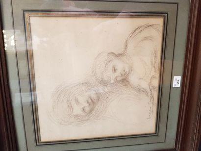 Eugène CARRIERE (1849-1906)  Jeune mère et...