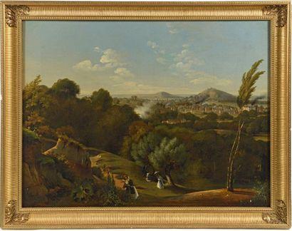 Victor DUVAL (actif à Paris au XIXe siècle)  Vues de Paris  Paire de toiles  78...
