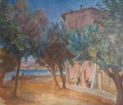 Jozef PANKIEWICZ (1866-1940) Place de village en bord de mer, Provence Huile sur...