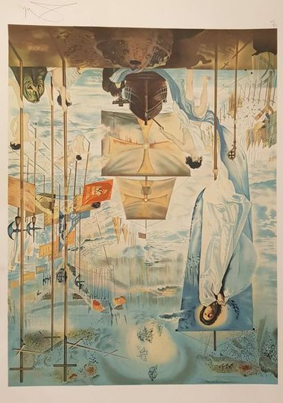 Salvador DALI d'après  La découverte par Gala  Lithographie en couleurs contresignée...