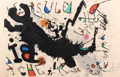 Joan MIRO d'après  Ursule hisse les cornes de biche  Lithographie en couleurs contresignée...