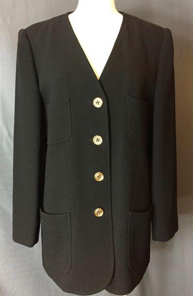 UNGARO  Veste longue en lainage noir, encolure...