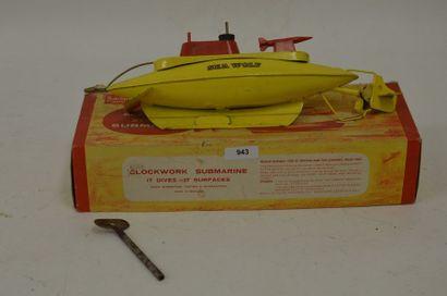 SUTCLIFFE sous-marin, en tôle jaune, mécanique,...