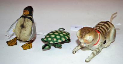 Trois animaux en tôle:  -Köhler, Allemagne,...
