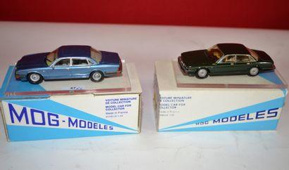(2) MOG MODELES, 1 Jaguar XJ 6 de 1989 verte...