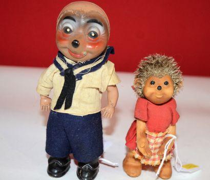 Ensemble de deux poupées hérisson Mecki,...