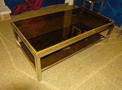 Meuble vintage: Table de salon chromé et...