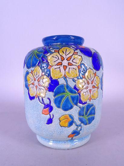 Céramique: Vase émaux cloisonnés craquelé...