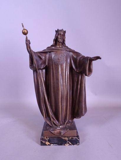 Sculpture Métal patiné -Christ- signé f.m....