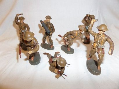 ELASTOLIN : groupe de sept soldats anglais...