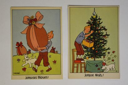 Ensemble de 2 cartes postales Tintin couleurs...