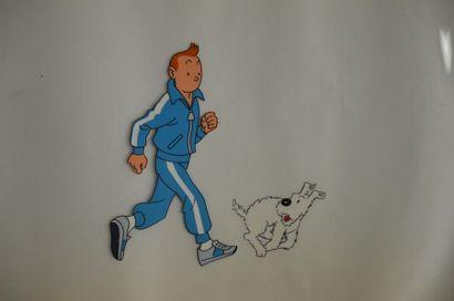 Lot de 2 celluloïdes Belvision Tintin et...