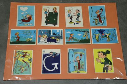 Ensemble complet de 12 cartes feutrine Franquin...