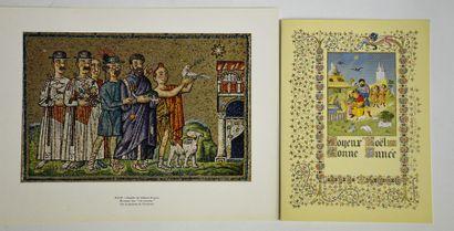 Hergé - 2 cartes de vœux années 60 - Enluminure...