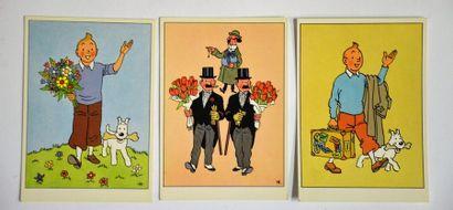 Hergé - 3 cartes postales Tintin, Dupond...