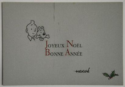 Rare carte de voeux signée par Hergé. Vers...