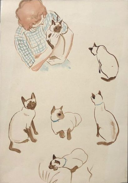 Hergé: superbe dessin original représentant sa 1e épouse, Kieckens Germaine, avec...