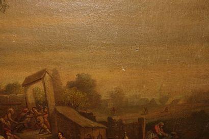 École flamande du XIXe siècle suiveur de David TENIERS. Scènes villageoises. Deux...