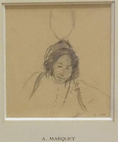 Albert MARQUET (1875-1947). Character study, Algiers. Black pencil drawing, signed...