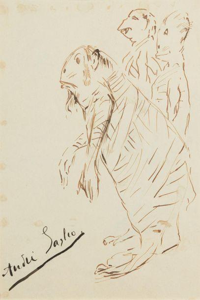 André SAGLIO (1869-1929). Caricature. Dessin...