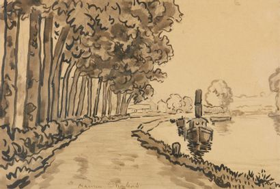 Maurice CHABAS (1862-1947). Paysage fluvial....