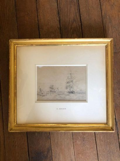 Eugène BOUDIN (1824-1898). Boats under sail. Pencil lead on paper. Stamp of initials...