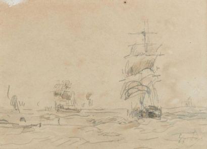 Eugène BOUDIN (1824-1898). Bateaux sous voiles....