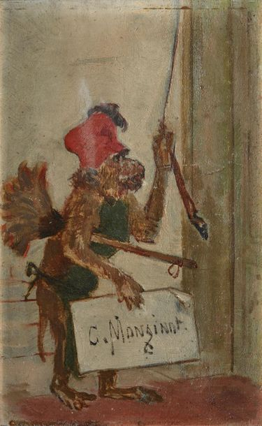 Charles MONGINOT (1825-1900). Singe fleuriste...