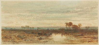 Félix ZIEM (1821-1911). Oasis. Aquarelle,...