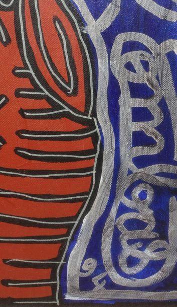 Robert COMBAS (1957). Sans titre, 1994. Acrylique sur toile. Haut. : 141 cm ; Larg....