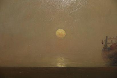 Arvid JOHANSSON (1862-1923). Bateaux au soleil levant. Huile sur toile, signée en...