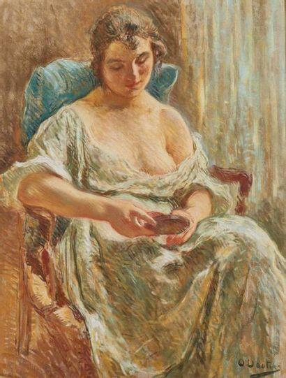 Otto VAUTIER (1863-1919). Femme au miroir....
