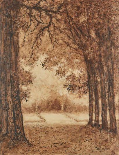 Lucien LÉVY-DHURMER (1865-1953). Sous-bois....