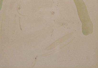 Simon AUGUSTE (1909-1987). Portrait de femme. Aquarelle, porte une trace de signature...