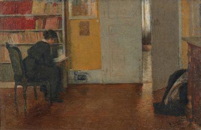 Henri LEROLLE (1848-1929). Femme lisant....