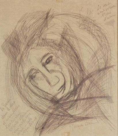 Jacques BREL (1929-1978). Portrait. Dessin...