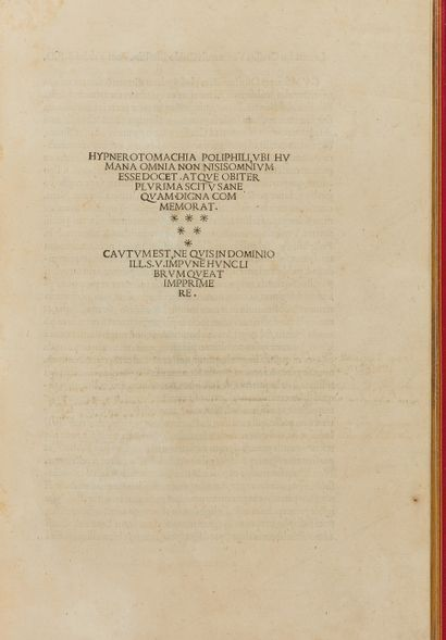 COLONNA Francesco. Hypnerotomachia Poliphili. Venise, Alde Manuce, décembre 1499...