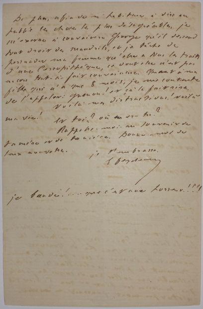 FEYDEAU Ernest. Lettre autographe signée à Gustave Flaubert. Trouville, 12 septembre...