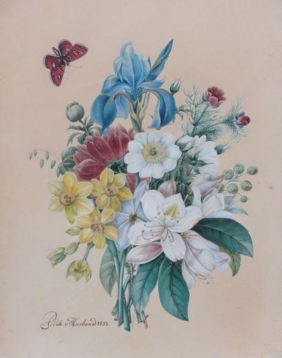 Adèle MICHAUD.  Jeté de fleurs avec un papillon....