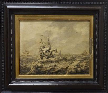 Adrien Van SALM (vers 1660-1720).  Bateaux sur une mer agitée. Restaurations au...