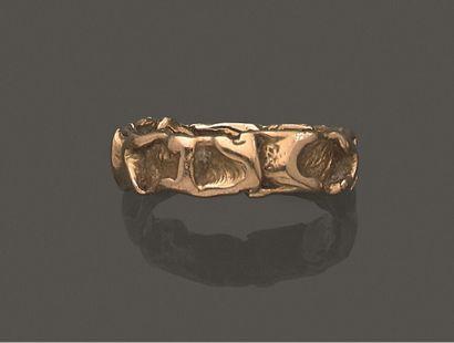 Bague anneau en or jaune 750 millièmes gravé...