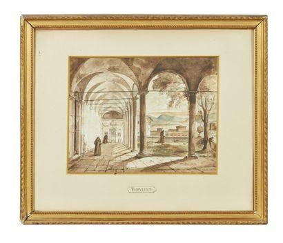 Frans VERVLOET (1795-1872)  Moines dans un...