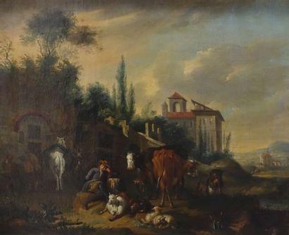 École flamande du XVIIIe siècle  Le repos...