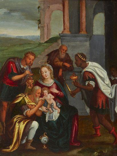 École flamande du XVIIe siècle  Adoration...