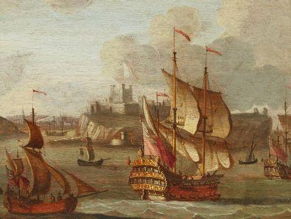École flamande vers 1680  Navires devant...