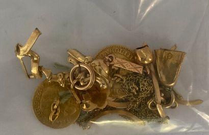 Lot de débris en or et or émaillé.  Poids...