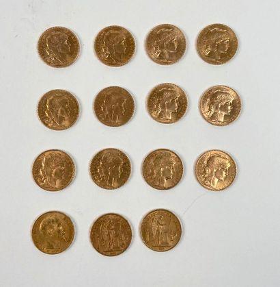Lot de 15 pièces de 20 Francs or.    Pièces...